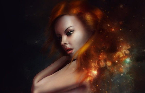 Picture look, girl, stars, face, the universe, hair, art, red