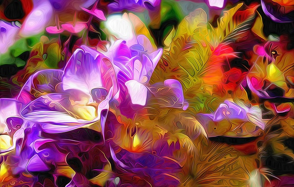 Picture grass, leaves, flowers, nature, rendering, plant, petals