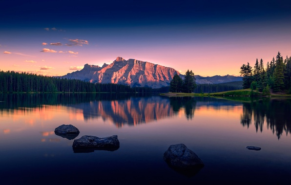 Picture mountains, lake, view, Serenity, Two Jack Lake