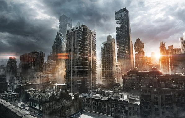 Picture the sun, clouds, the city, sunrise, morning, art, ruins, postapocalyptic, jenovah-art