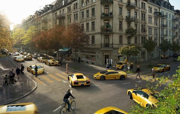 Picture Lamborghini, 149, yellow, Clones
