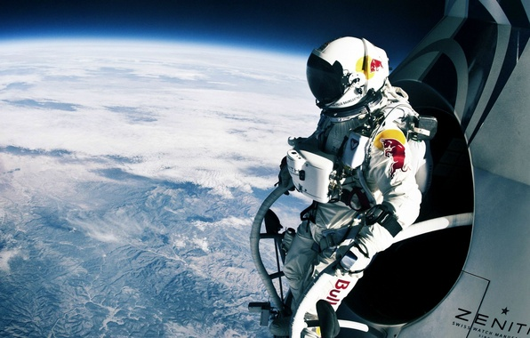 Picture space, jump, parachute, athlete, flight, widescreen Wallpaper, red bull, download Wallpaper, download Wallpapers for desktop, …