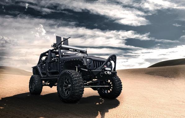 Picture black, desert, jeep, black, desert, front, machine gun, Wrangler, Jeep, Wrangler
