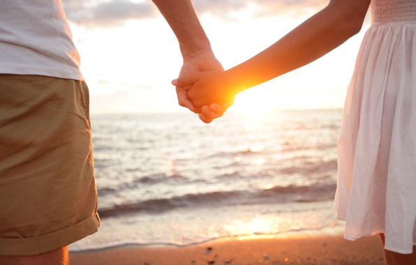 Picture sand, sea, water, girl, the sun, love, background, Wallpaper, together, mood, woman, tenderness, feelings, hands, ...