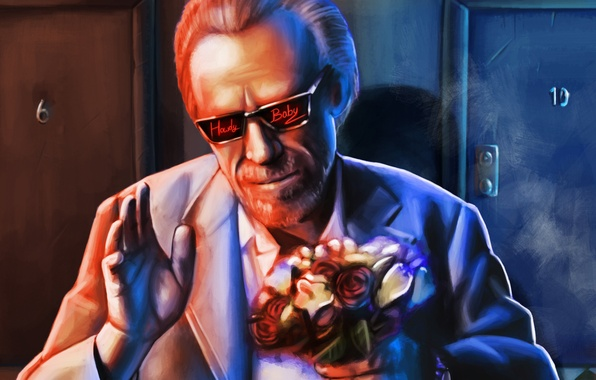 Picture flowers, glasses, male, art, writer, Charles Bukowski