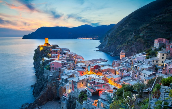Picture sea, mountains, rock, tower, home, Italy, Vernazza, Spice, Cinque Terre, The Ligurian coast