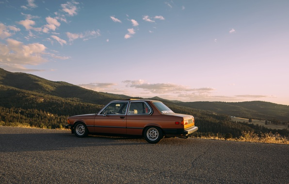 Picture road, the sun, clouds, trees, mountains, shadow, BMW, valley, E21