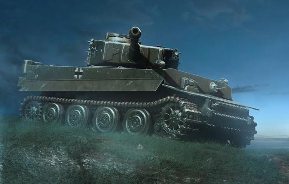 Picture night, Tiger, tank, Tiger, heavy, German