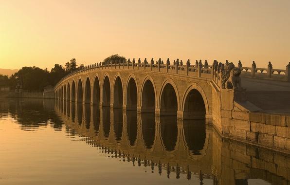 Picture bridge, river, Sunset