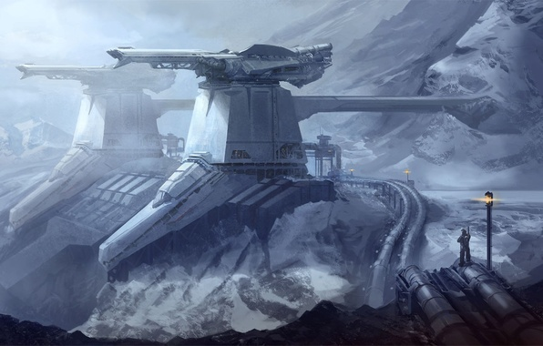 Picture snow, mountains, fiction, station, art, by drawingnightmare, frozen fortress