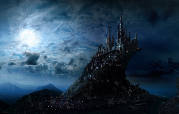 Picture the sky, light, night, the city, castle, fiction, the moon, art, fantasy