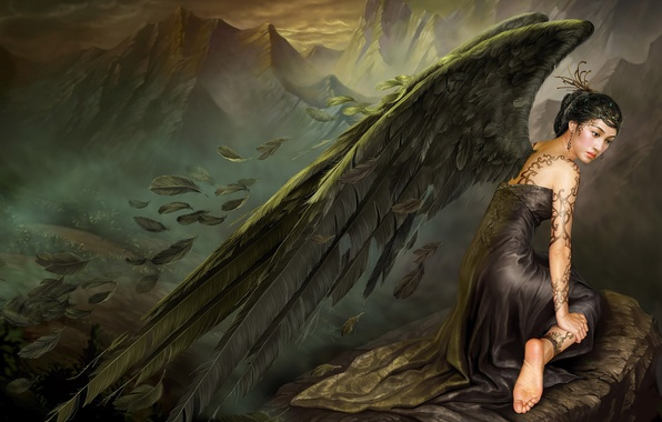 Picture sadness, mountains, stone, wings, angel, feathers, dress, Asia, tattoo