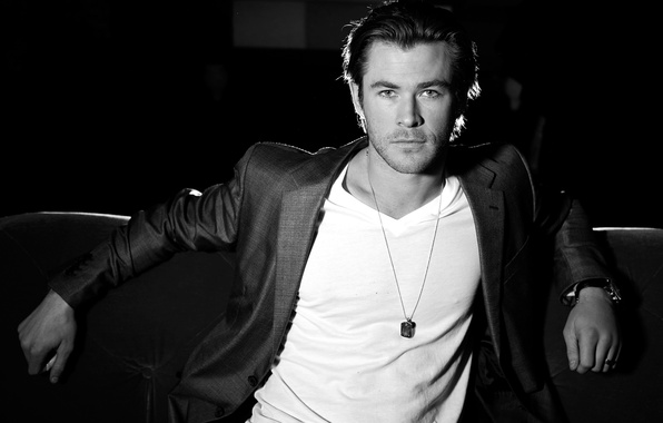 Picture t-shirt, actor, black and white, male, jacket, blonde, Chris Hemsworth, Chris Hemsworth