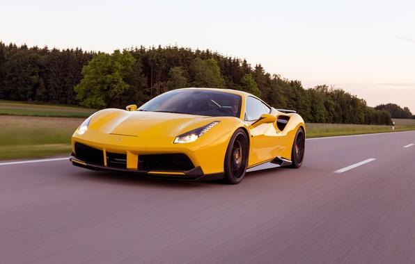 Picture road, machine, speed, Ferrari, supercar, road, speed, Rosso, Novitec, 488 GTB
