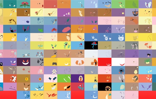 Picture the game, figure, color, minimalism, texture, anime, symbol, pokemon, cell