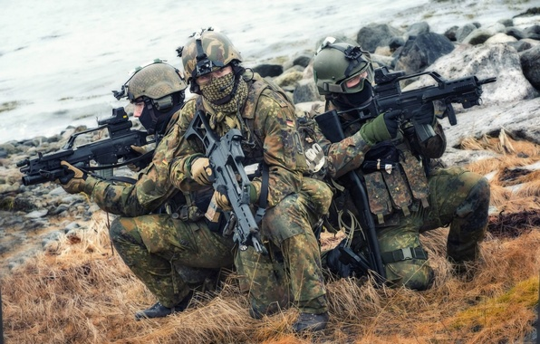 Picture grass, Germany, soldiers, rifle, equipment, assault, the Bundeswehr, HK G36