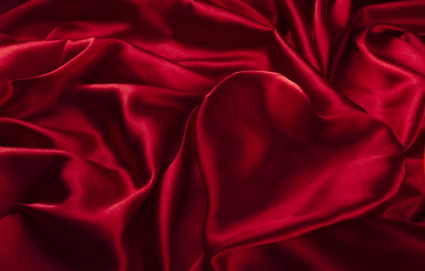 Photo Wallpaper Satin Silk Texture Heart Folds Red Fabric