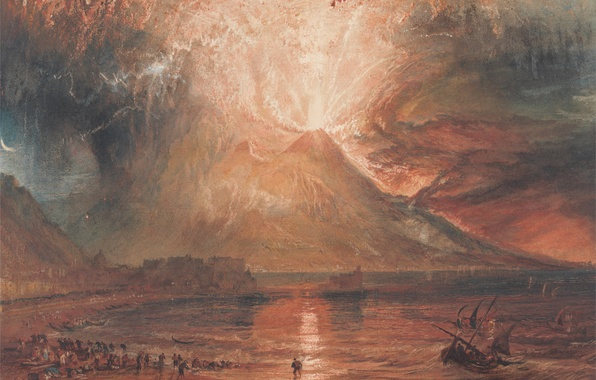Picture sea, landscape, picture, the volcano, William Turner, The Eruption Of Mount Vesuvius