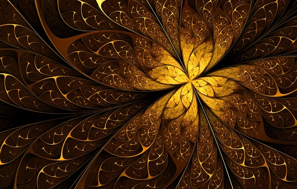Picture line, abstraction, gold, patterns, fractal