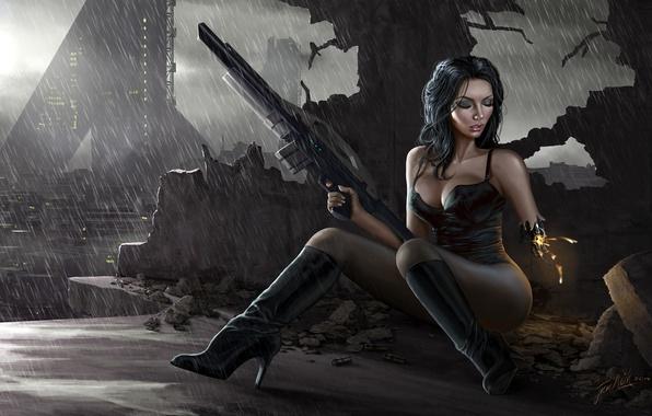 Picture the city, rain, Girl, the ruins, cyborg, rifle