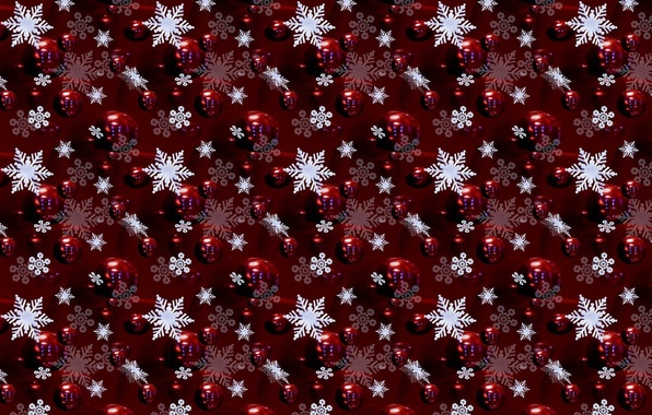 Picture balls, snowflakes, red, background, holiday, figure, color, new year, decoration, texture
