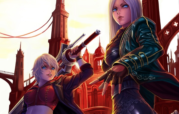 Picture the city, weapons, girls, sword, art, devil may cry, dantewontdie