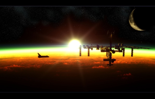 Picture the sun, dawn, the moon, ISS, station, Shuttle