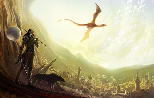 Picture flight, mountains, the city, river, weapons, dragon, elf, building, wolf, sword, art, dragon, anndr