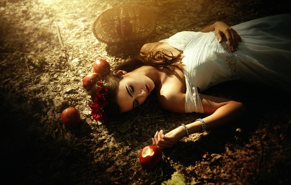 Picture girl, apples, Snow white, fairy tale