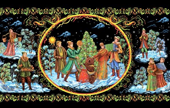 Picture Christmas, New year, painting, Palekh miniature, Palekh