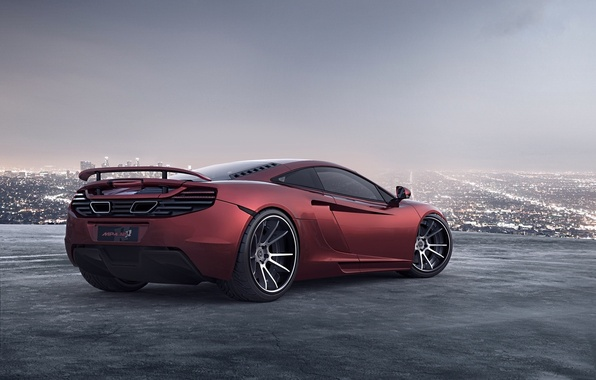 Picture red, the city, night lights, McLaren, horizon, supercar, red, megapolis, MP4-12C, McLaren