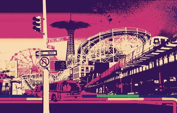 Picture city, Pink, vintage, retro, art, futurism