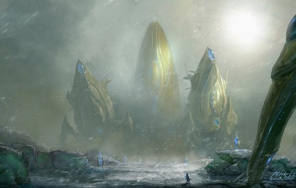 Picture snow, art, crystals, Blizzard, giant, Heart of the Swarm, sooruzhenie, StarCraft