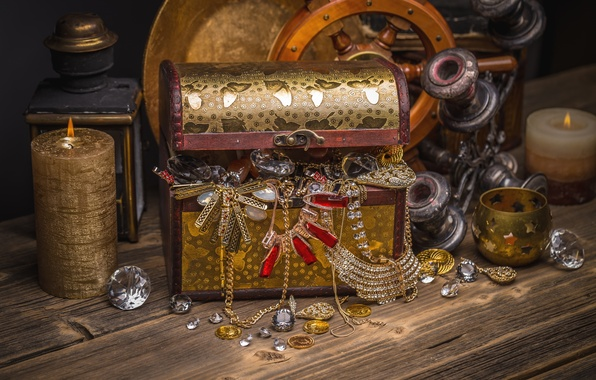 Picture decoration, candle, chest, jewelry