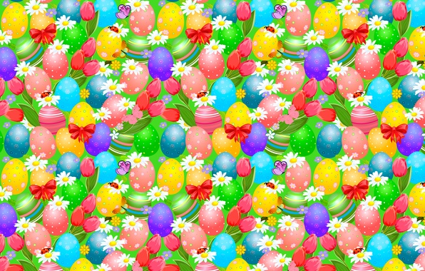 Picture butterfly, bright, ladybug, chamomile, eggs, Easter, tulips, bows