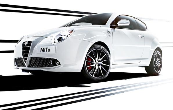 Photo wallpaper Alfa Romeo, MiTo, the front, Verde, Four-leaf clover, Alfa Romeo, Mi Tu