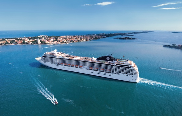 Picture Water, Sea, The city, White, Liner, day, Boat, The ship, Passenger, On the go, MSC, …