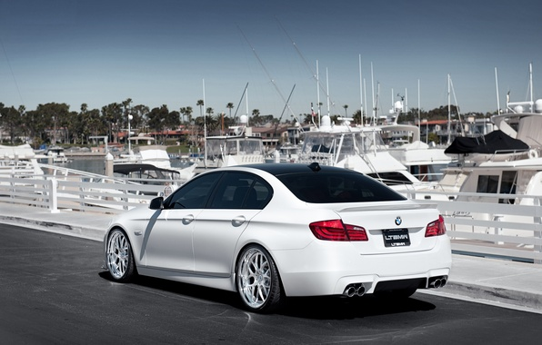 Picture BMW, yachts, BMW, pier, white, white, F10, 5 Series