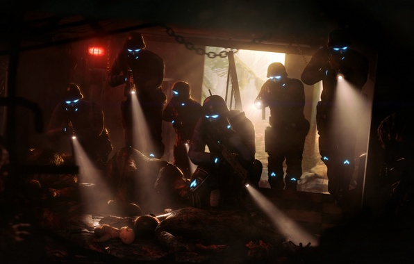 Picture death, fear, blood, dark, lantern, helmet, corpses, special forces