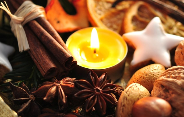 Picture holiday, new year, food, candle, cookies, sweets, the scenery, nuts, cinnamon, happy new year, christmas …