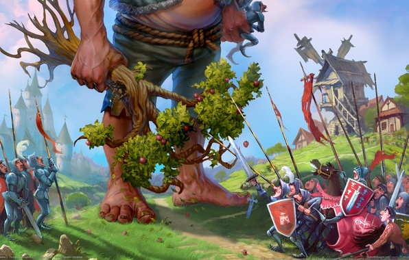 Picture castle, tree, army, village, giant, mill, Apple, majesty 2, the fantasy kingdom sim, cowardly