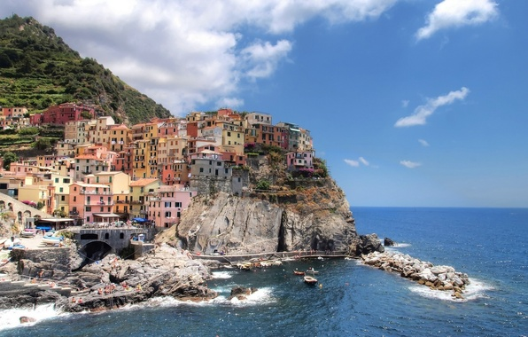 Wallpaper sea landscape rock building italy italy - Italy screensaver ...