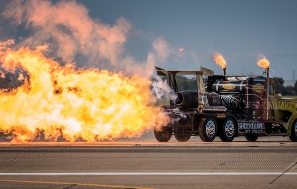 Picture fire, flame, turbine, truck, tractor, Peterbilt