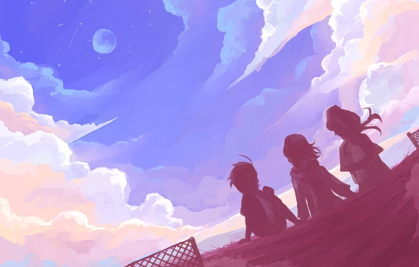 Picture the sky, stars, clouds, mood, the moon, art, friends, art