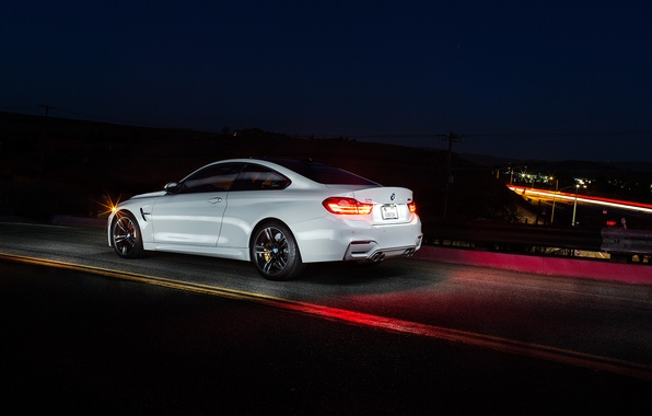 Picture white, night, BMW, BMW, white, Coupe, rear, F82