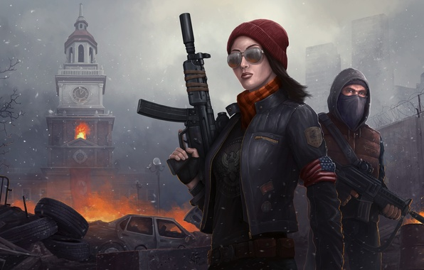 Picture girl, weapons, fire, war, tower, mask, glasses, machine, male, Homefront: The Revolution