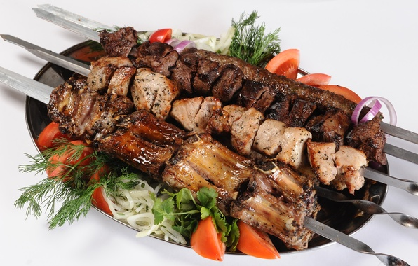 Picture greens, stick, food, bow, meat, tomatoes, parsley, kebab, delicious, dish