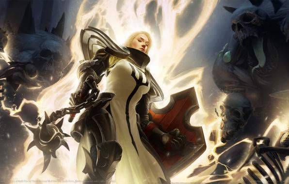 Picture weapons, armor, fantasy, skull, fantasy, shield, skeletons, game wallpapers, Diablo 3, Crusader, Mace, Diablo 3: …