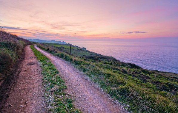 Picture road, sea, the sky, grass, clouds, sunset, coast, the evening, Spain, path