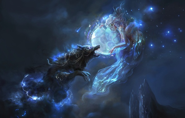 Picture girl, stars, mountains, night, the moon, lightning, wolf